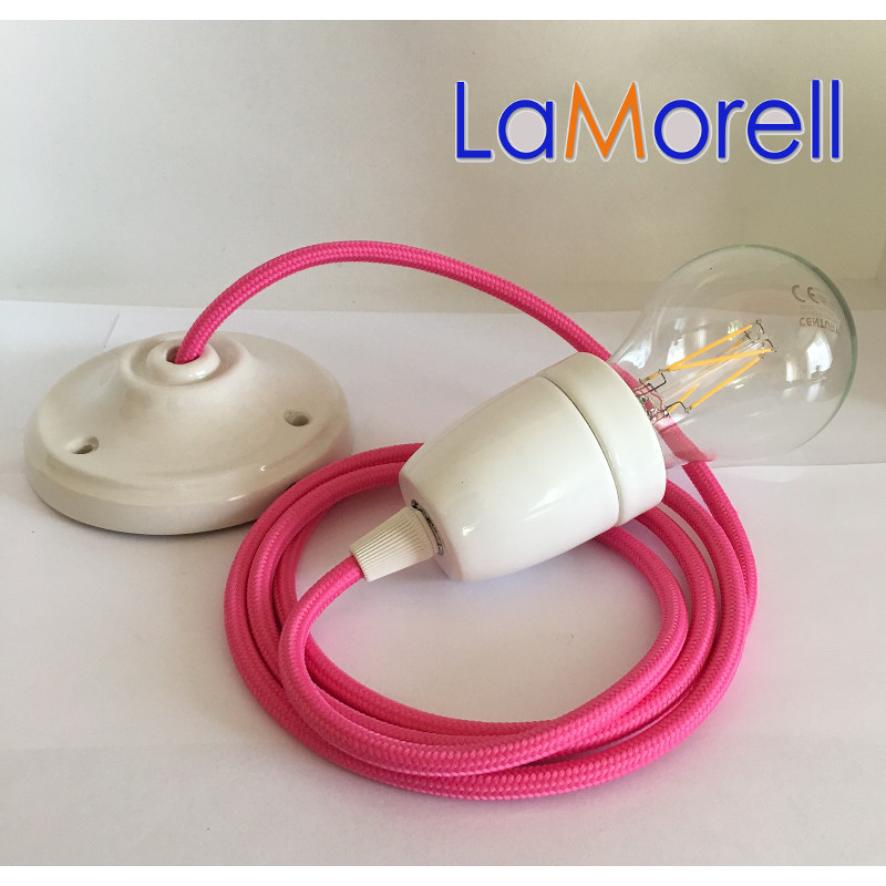 PORCELAIN PENDANT SUSPENDED LAMP WITH FUCHSIA TEXTILE CABLE LM04