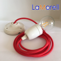 PORCELAIN PENDANT SUSPENDED LAMP WITH RED TEXTILE CABLE LM05