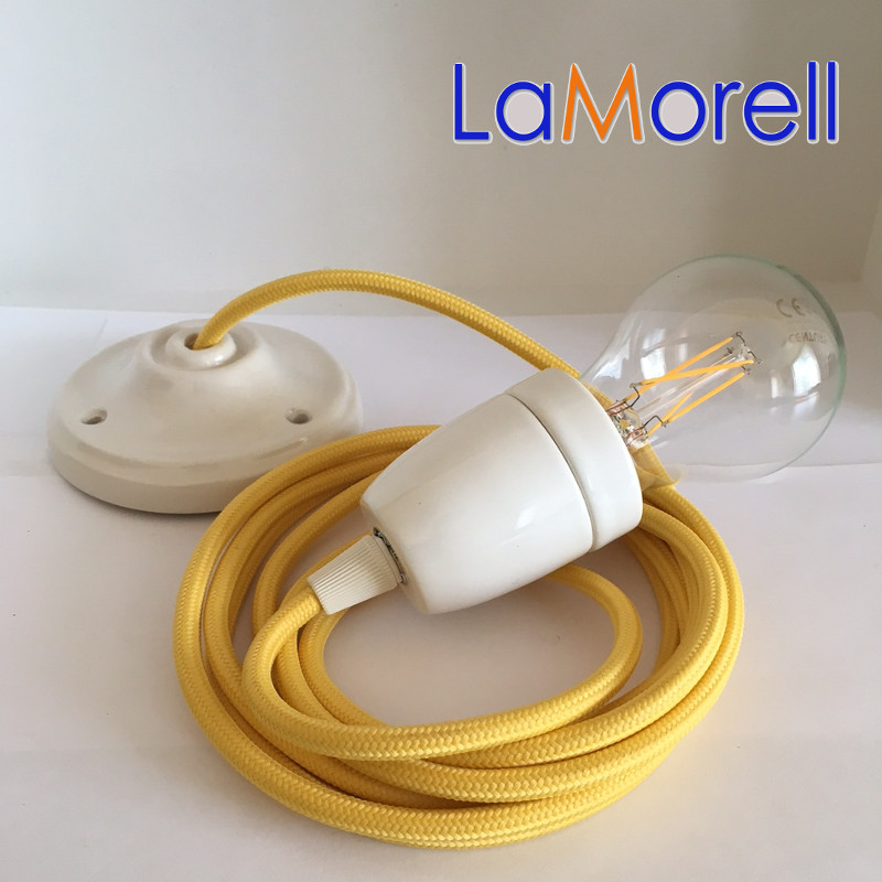 PORCELAIN PENDANT SUSPENDED LAMP WITH YELLOW TEXTILE CABLE LM06
