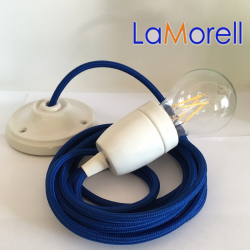 PORCELAIN PENDANT SUSPENDED LAMP WITH BLUE TEXTILE CABLE LM08