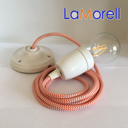 PORCELAIN PENDANT SUSPENDED LAMP WITH WHITE/ORANGE TEXTILE CABLE LM26