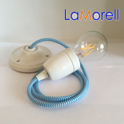 PORCELAIN PENDANT SUSPENDED LAMP WITH WHITE/TURQUOISE TEXTILE CABLE LM30