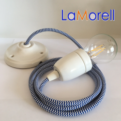 PORCELAIN PENDANT SUSPENDED LAMP WITH WHITE/BLUE TEXTILE CABLE LM31