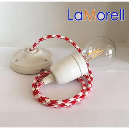 PORCELAIN PENDANT SUSPENDED LAMP WITH WHITE/RED TEXTILE CABLE LM35