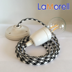 PORCELAIN PENDANT SUSPENDED LAMP WITH WHITE/BLACK TEXTILE CABLE LM36
