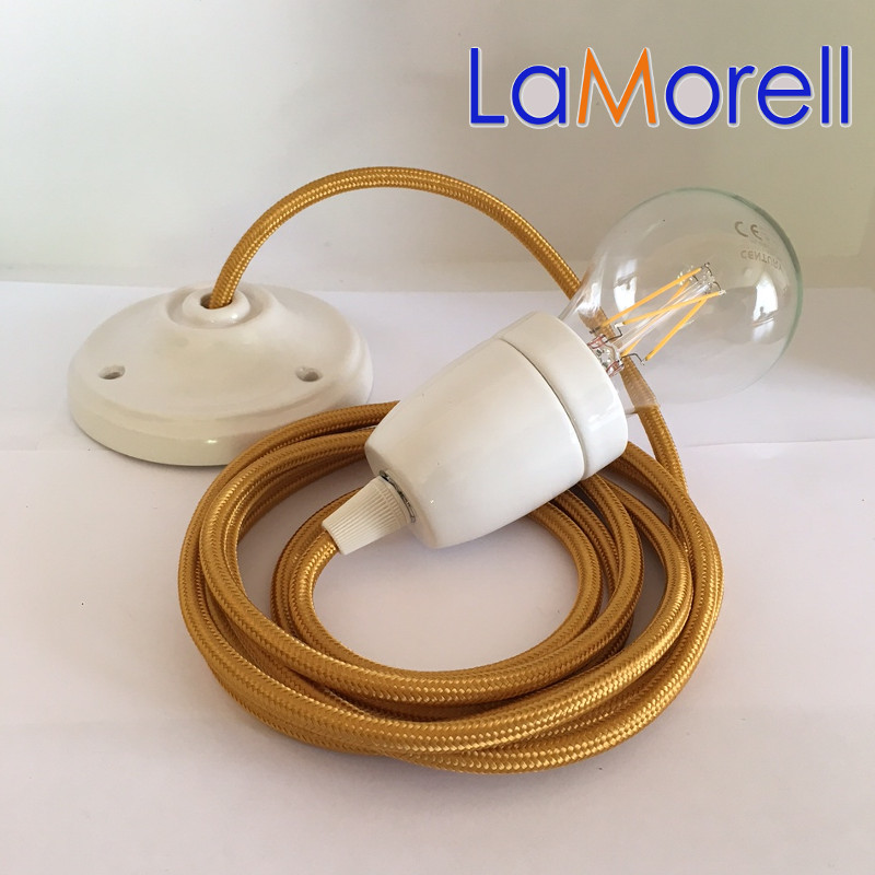 PORCELAIN PENDANT SUSPENDED LAMP WITH GOLD TEXTILE CABLE LM12