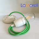 PORCELAIN PENDANT SUSPENDED LAMP WITH KIWI TEXTILE CABLE LM16