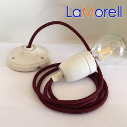 PORCELAIN PENDANT SUSPENDED LAMP WITH BORDEAUX TEXTILE CABLE LM17