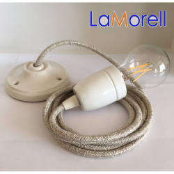 PORCELAIN PENDANT SUSPENDED LAMP WITH CANVAS BEIGE TEXTILE CABLE LM21