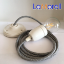 PORCELAIN PENDANT SUSPENDED LAMP WITH CANVAS GREY TEXTILE CABLE LM22