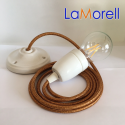 PORCELAIN PENDANT SUSPENDED LAMP WITH LAME' COPPER TEXTILE CABLE LM39