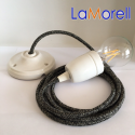 PORCELAIN PENDANT SUSPENDED LAMP WITH CANVAS DARK GREY TEXTILE CABLE LM23