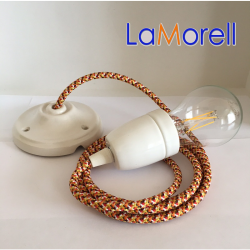 PORCELAIN PENDANT SUSPENDED LAMP WITH PIXEL ORANGE TEXTILE CABLE PX01