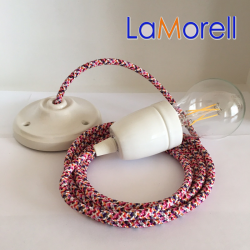 PORCELAIN PENDANT SUSPENDED LAMP WITH PIXEL FUCHSIA TEXTILE CABLE PX02
