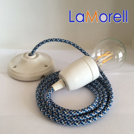 PORCELAIN PENDANT SUSPENDED LAMP WITH PIXEL TURQUOISE TEXTILE CABLE PX04