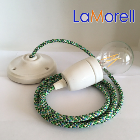 PORCELAIN PENDANT SUSPENDED LAMP WITH PIXEL GREEN TEXTILE CABLE PX05