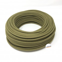 ROUND ELECTRIC CABLE COVERED COTTON COLOUR FABRIC OLIVE LM82