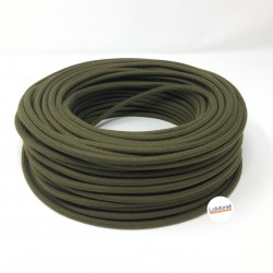 ROUND ELECTRIC CABLE COVERED COTTON COLOUR FABRIC MILITARY GREEN LM83