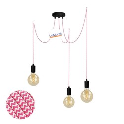 MULTI PENDANT, SUSPENDED LAMP, WITH WHITE/FUCHSIA LM27