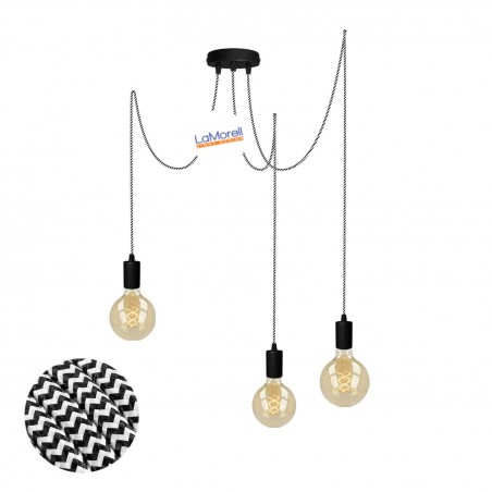 MULTI PENDANT, SUSPENDED LAMP, WITH WHITE/BLACK LM32