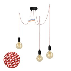 MULTI PENDANT, SUSPENDED LAMP, WITH WHITE/RED LM28