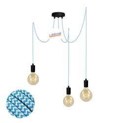 MULTI PENDANT, SUSPENDED LAMP, WITH WHITE/TURQUOISE LM30