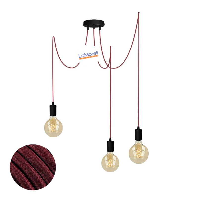 MULTI PENDANT, SUSPENDED LAMP, WITH BORDEAUX LM17