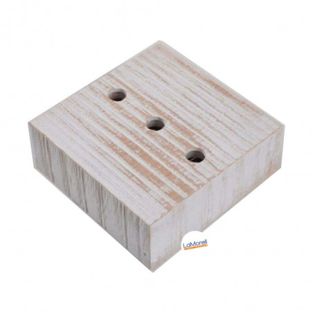 SQUARE ASH WOOD CEILING ROSE - 3 EXIT. WHITE
