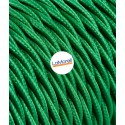 TWISTED ELECTRIC CABLE COVERED COLOUR FABRIC GREEN TR20