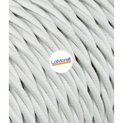 TWISTED ELECTRIC CABLE COVERED COLOUR FABRIC WHITE TR30