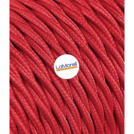 TWISTED ELECTRIC CABLE COVERED COLOUR FABRIC RED TR70