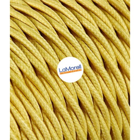 TWISTED ELECTRIC CABLE COVERED COLOUR FABRIC YELLOW TR80