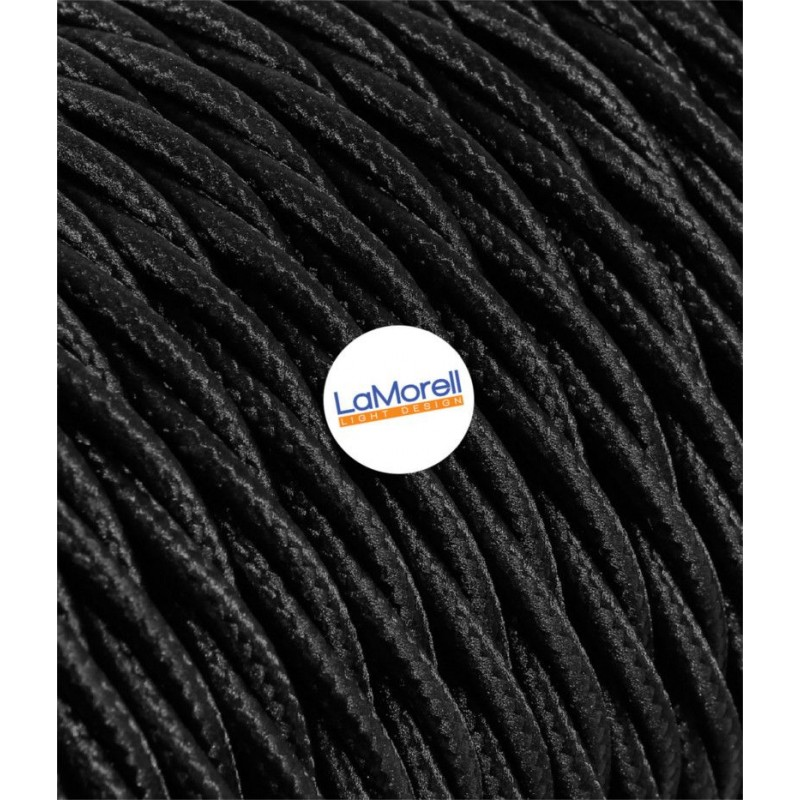 TWISTED ELECTRIC CABLE COVERED COLOUR FABRIC BLACK TR120