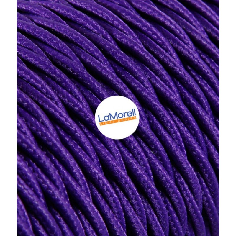 TWISTED ELECTRIC CABLE COVERED COLOUR FABRIC VIOLET TR130