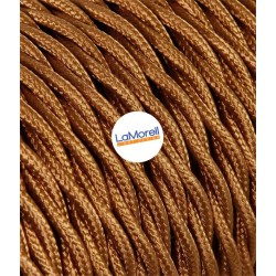TWISTED ELECTRIC CABLE COVERED COLOUR FABRIC WHISKEY TR140