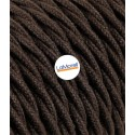 TWISTED ELECTRIC CABLE COVERED COLOUR FABRIC COTTON BROWN TR160