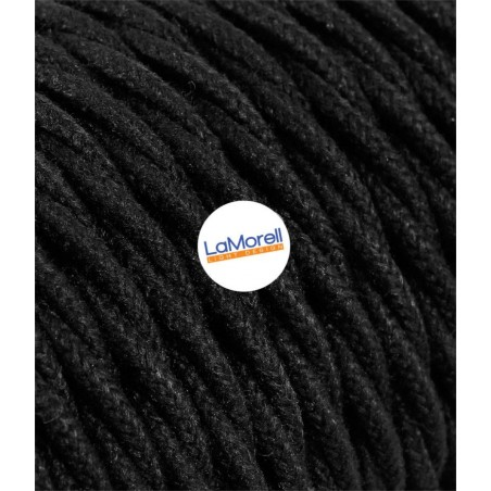 TWISTED ELECTRIC CABLE COVERED COLOUR FABRIC COTTON BLACK TR180