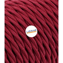 TWISTED ELECTRIC CABLE COVERED COLOUR FABRIC RED CHERRY TR53