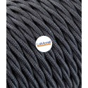 TWISTED ELECTRIC CABLE COVERED COLOUR FABRIC GREY GRAPHITE TR54