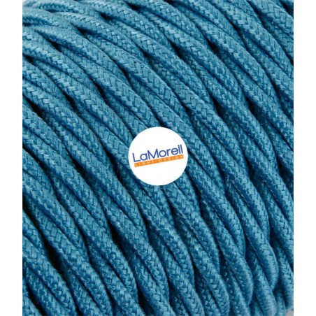 TWISTED ELECTRIC CABLE COVERED COLOUR FABRIC COTTON TURQUOISE TR59