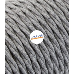 TWISTED ELECTRIC CABLE COVERED COLOUR FABRIC COTTON GREY TR60