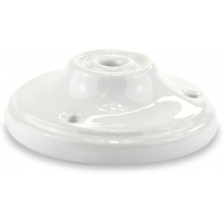 White Porcelain Rose + 3 Screws + 3 Anchors + 1 Tensioner Plate