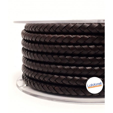 ROUND LEATHER COVERED ELECTRICAL CABLE BROWN - PE00