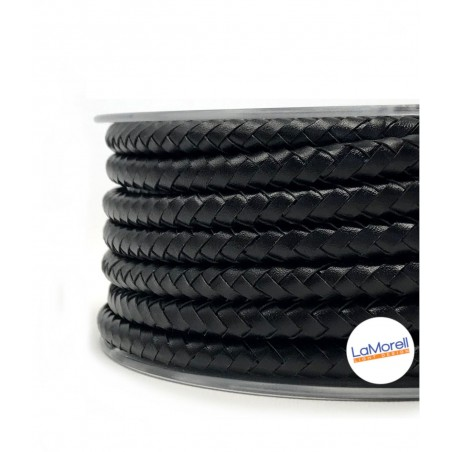 ROUND LEATHER COVERED ELECTRICAL CABLE BLACK - PE01