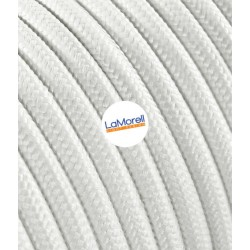 FLAT ELECTRIC CABLE COVERED COLOUR FABRIC WHITE LM01