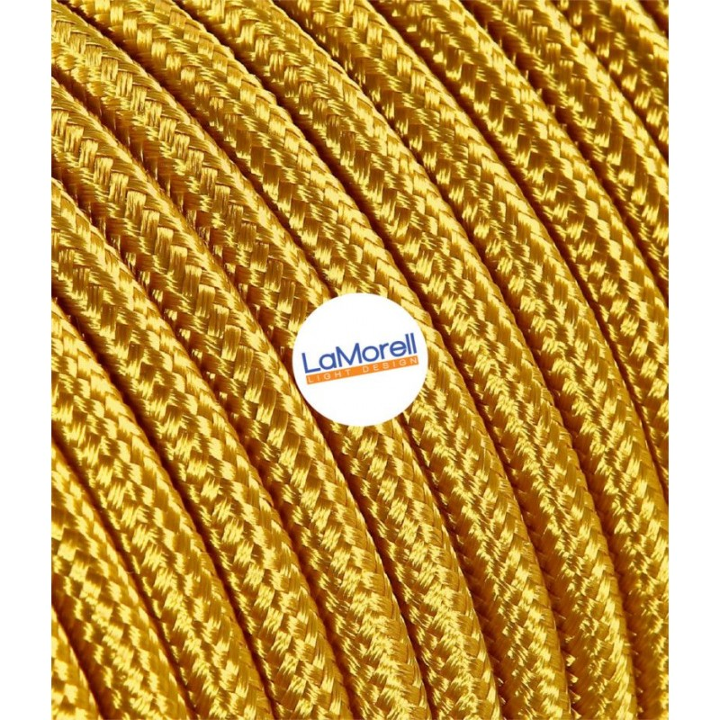 FLAT ELECTRIC CABLE COVERED COLOUR FABRIC GOLD LM12