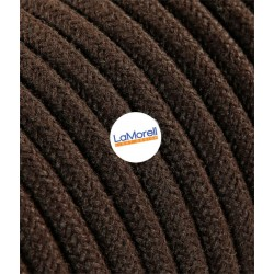 ROUND ELECTRIC CABLE COVERED COLOUR FABRIC COTTON BROWN LM50