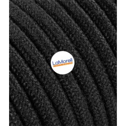 ROUND ELECTRIC CABLE COVERED COLOUR FABRIC COTTON BLACK LM51
