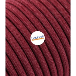 ROUND ELECTRIC CABLE COVERED COLOUR FABRIC RED CHERRY LM53
