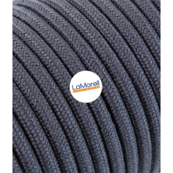 ROUND ELECTRIC CABLE COVERED COLOUR FABRIC GREY GRAPHITE LM54